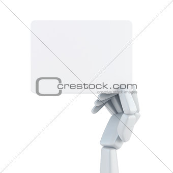 robot's hand and hold blank business card