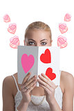 blonde girl with valentine postcard forward the face