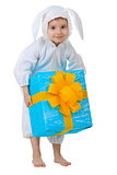 Child dressed as a rabbit with a gift box