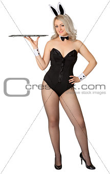Sexy girl - waitress in a bunny suit
