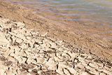 Contrast concept of dry cracked mud next to water