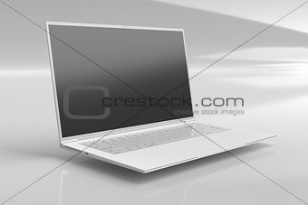 one white ultrabook (laptop)