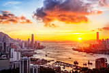 sunset in hong kong city