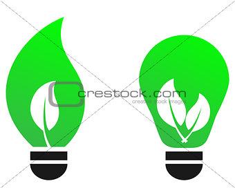 Green bulb leaf vector concept.