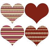 Block of four red  Valentine hearts 