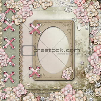 Album cover  with  frames, flowers and pearls