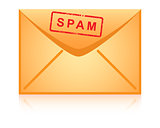 Envelope icon inscription spam vector.