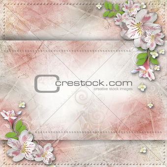 Vintage background with frame and flowers for congratulations an