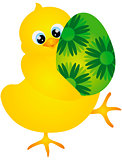 Chick Carrying Easter Egg Illustration