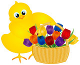 Easter Chick with Tulips Basket Illustration