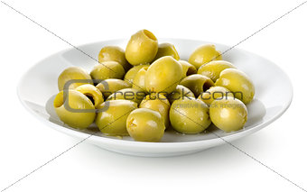 Olives in a plate isolated