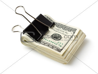 Dollar bills with clip
