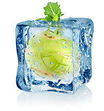 Ice cube and kohlrabi