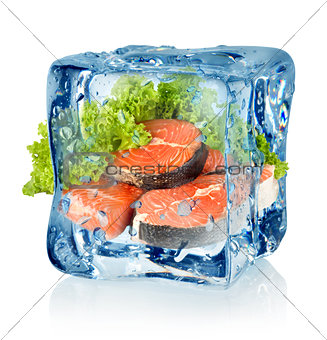 Ice cube and salmon