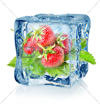 Ice cube and strawberry isolated