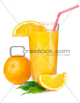 Juice with drinking straw and orange