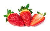 Strawberries white isolated