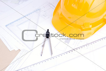 Architectural drafts on a table