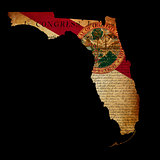 USA American Florida State Map outline with grunge effect flag i