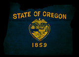 USA American Oregon State Map outline with grunge effect flag in