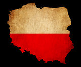 Poland grunge map outline with flag