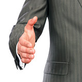 Mid section of a business man offering handshake