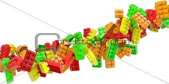 Stream of colored children's blocks
