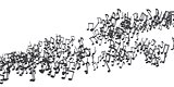 The flow of black musical notes