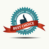 Vector best choice retro  label with gold ribbon.