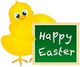 Happy Easter Chick with Chalkboard Illustration
