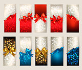 Collection of beautiful gift cards with color gift bows with rib
