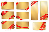 Set of gold business cards with red ribbons. Vector illustration