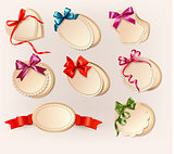 Set of beautiful retro labels with colorful gift bows with ribbo
