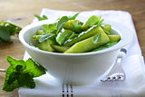 salad with cucumbers and green beans