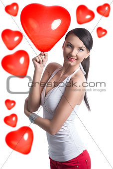 sexy brunette takes the heart shaped balloon