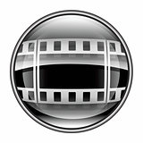Film icon black, isolated on white background.