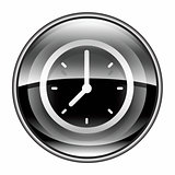 clock icon black, isolated on white background.