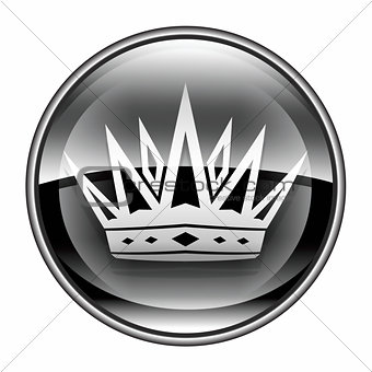 crown icon black, isolated on white background.