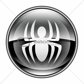 Virus icon black, isolated on white background.