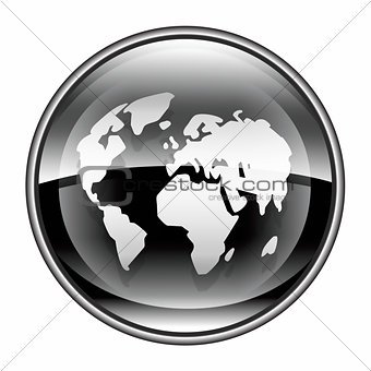 world icon black, isolated on white background.
