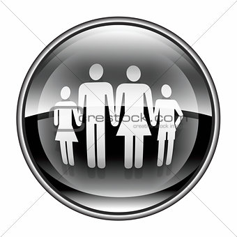 family icon black, isolated on white background.