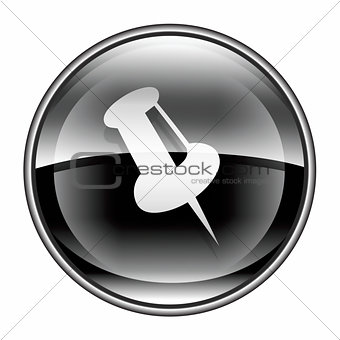thumbtack icon black, isolated on white background.