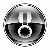 medal icon black, isolated on white background.