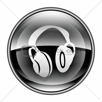headphones icon black, isolated on white background.