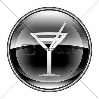 wine-glass icon black, isolated on white background.