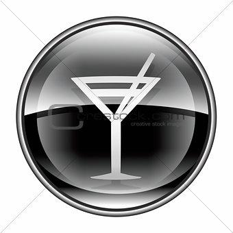 wine-glass icon black, isolated on white background.
