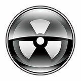 Radioactive icon black, isolated on white background.
