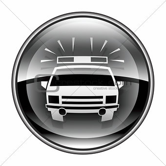 police icon black, isolated on white background.