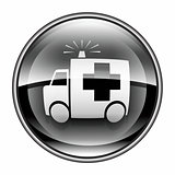 First aid icon black, isolated on white background.
