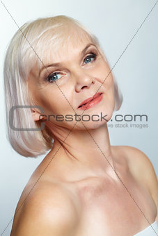 Nude senior lady